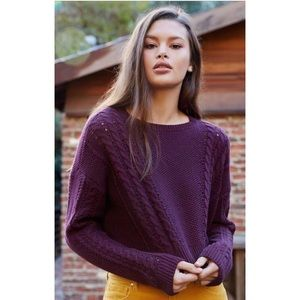 LA Hearts Cable Knit Dolman Pullover Crop Sweater